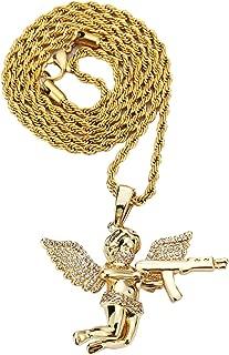 Angel Gun Pistol Pendant with Stainless Steel Fashion Jewelry Neckalce for Hip Hop (Golden)