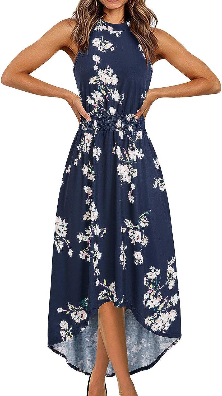KILIG Women's Summer Sleeveless Halter Neck Floral Print Causal Beach Party Midi Dress with Pockets