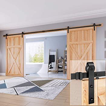 "EaseLife 16 FT Double Door Sliding Barn Door Hardware Kit,Heavy Duty,Ultra Hard Sturdy,Easy Install,Slide Smoothly Quietly,Fit Double 48"" Wide Door (16FT Track Double Door Kit)"