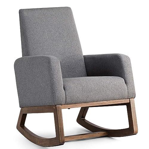 Giantex Upholstered Rocking Chair Modern High Back Armchair Comfortable  Rocker Fabric Padded Seat Wood Base Gray