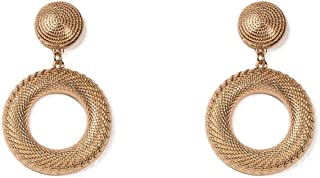 Gold Tone Drop Metal Ring Statement Earrings
