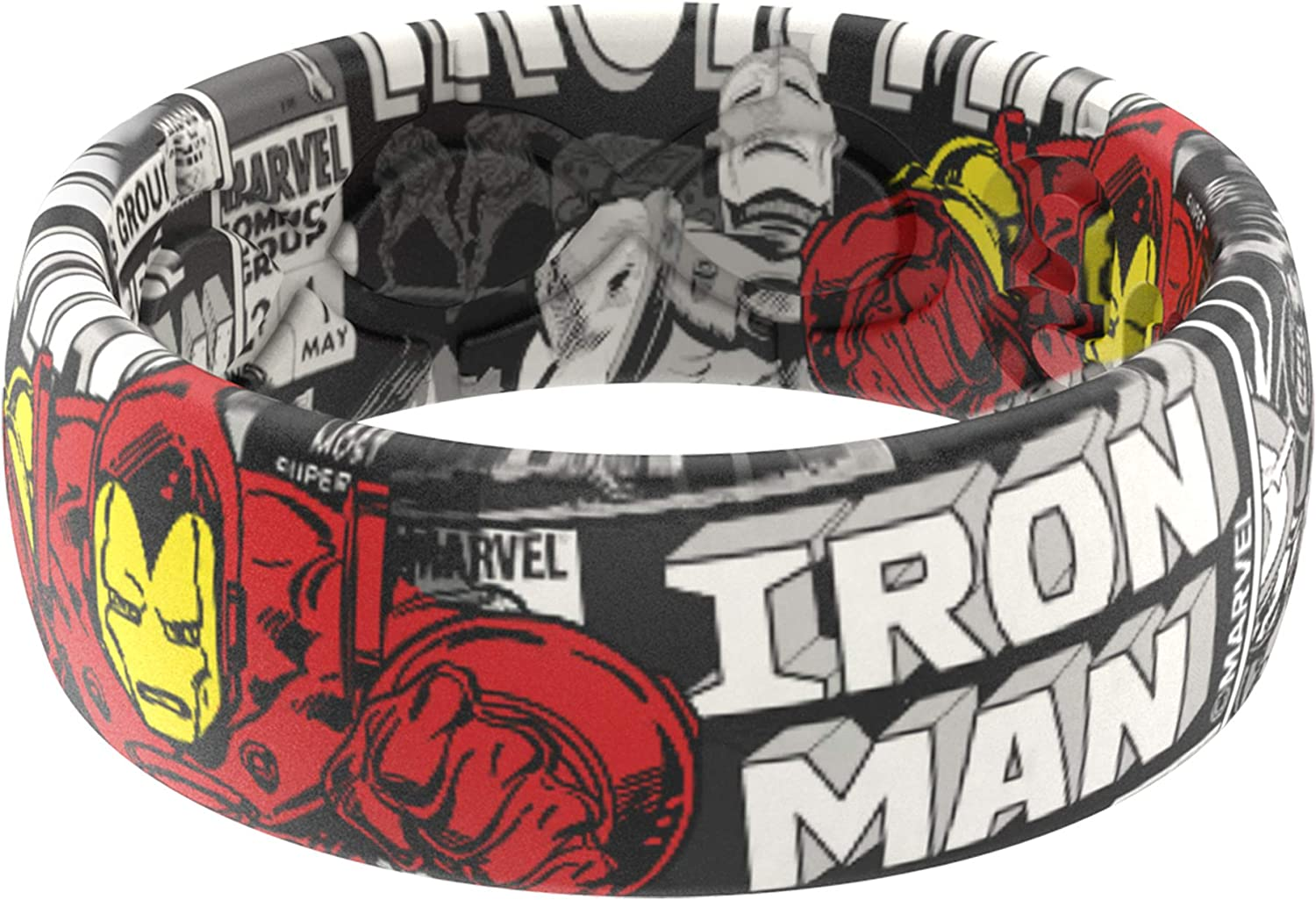 Marvel - Iron Man Silicone Ring by Groove Life - Breathable Rubber Wedding Rings for Men, Lifetime Coverage, Unique Design, Comfort Fit Ring