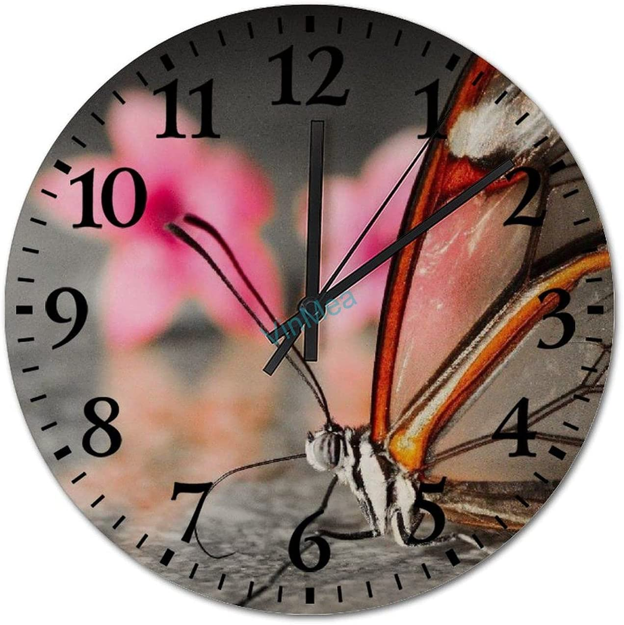 Wall Clock - 15 Inch Clocks Butterfly Gorgeous Opera Battery Free shipping on posting reviews Wooden