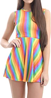Womens LGBT Lesbian Sash Rainbow Stripes Dress Top Pants Ladies Gay Pride Festival Skirt Dance Party Hat Accessory