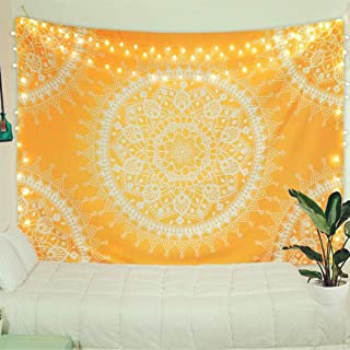 Jiamingyang Home Lotus Flower Indian Hippie Bohemian Wall Tapestry Mandala Wall Hanging Tapestry Bedding Cover (L - 79.92