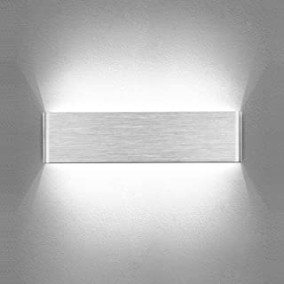 Temgin Applique Murale Interieur LED 10W Up Down Lampe Murale Aluminium Brossé Blanc Froid 30CM Moderne Luminaire Mural Ar...