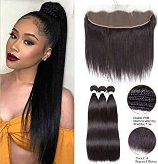 Beauhair Brazilian Straight Hair 3 Bundles With Frontal Closure(24 24 24+20Frontal) 13x4 Ear to Ear Lace Frontal Closure With Bundles Unprocessed Virgin Human Hair Bundles With Frontal Natural Color