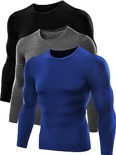 Neleus Men's Dry Fit Athletic Compression Shirt Pack of 3