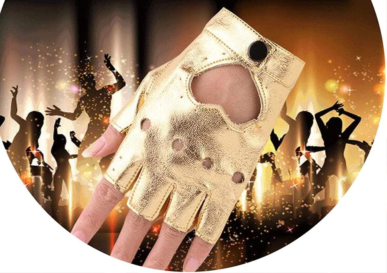 Samantha Warm Gloves Women PU Leather Gloves Female Night Club Rivets Punk Rock Show Half Finger Fitness Street Dance Thin Heart Gloves (Color : Golden, Size : Oneszie)