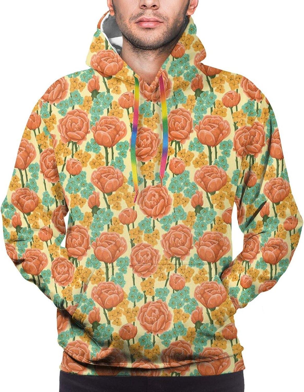 Men's Hoodies Sweatshirts,Romantic Nature Symbols in Sketch Art Style Monochromatic Rose Bouquet