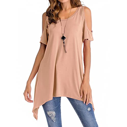 0bf66b8f46 Adreamly Women's Cold Shoulder Long Sleeve Loose Swing Tunic Tops