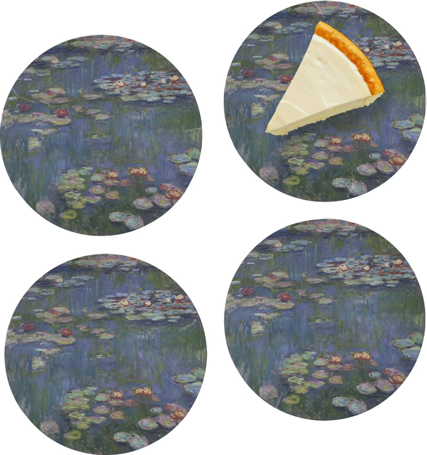 Water Lilies by Claude Monet Set Appetizer Pl of Glass Dessert 4 Popular brand in the Outlet SALE world