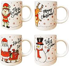 Christmas Mugs Set of 4 Festive Party Xmas Mugs Home Kitchen Tea Coffee Cups Christmas Tableware Xmas Decorations Mug Set Office Tea Cups Ceramic Mugs Festive Mugs Winter