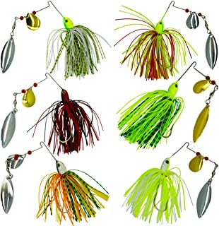 SILANON Fishing Lures Saltwater Spinner Baits - Spinnerbaits Jig Buzzbaits Swimbaits Hard Metal Multicolors Silicone Skirt DIY for Bass Pike Trout Salmon Freshwater Fishing 0.64oz/pcs