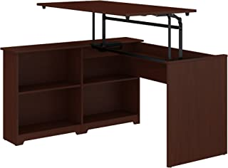 Bush Furniture Cabot 52W 3 Position Sit to Stand Corner Bookshelf Desk in Harvest Cherry