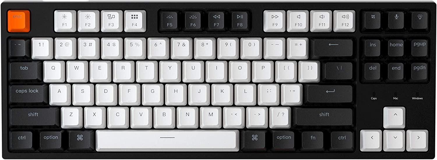 Keychron C1 Hot-swappable Wired Mechanical Keyboard with Gateron Blue Switch/Double-Shot ABS Keycaps/White Backlight/USB Type-C Cable, Tenkeyless 87 Keys Computer Keyboard for Mac Windows PC Laptop