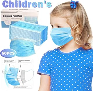 50/100 PCS Disposable Face Cover Dustproof For Kids Children, 3 Ply Face Cover Non-woven Anti-Particle Anti-droplet Anti-pollen Dust-proof Breathable, Pack Blue