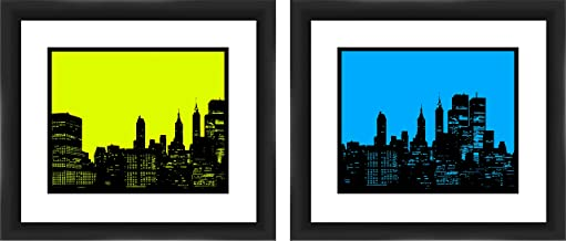 "PTM Images""Green And Blue City Sky"" Artwork, 16 by 14-Inch, Black, Set of 2"