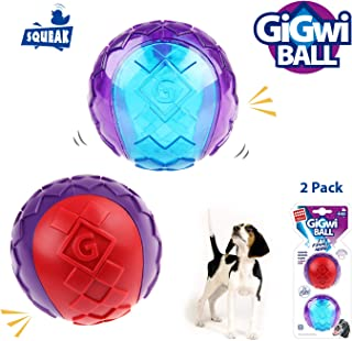 "Gigwi Interactive Dog Ball, Dog Toys Squeaky Balls 2.5"" Bouncy and Assorted Colors for Small/Medium Dogs (2 Pack)"
