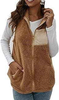 UUYUK Women Furry Sherpa Sleeveless Gilet Vest Jacket