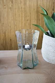 Kalalou CV2234 Glass Star Hurricane with Metal Candle Insert - Small