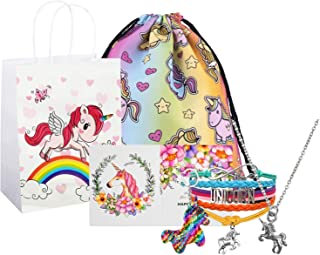 Unicorn Gifts for Girls, Unicorn Goodie Bags, Unicorn Backpack, Necklace Bracelet Keychain Backpack