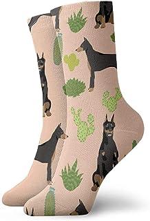 Calcetines de algodón para hombre, diseño de Cactus Doberman, color albaricoque