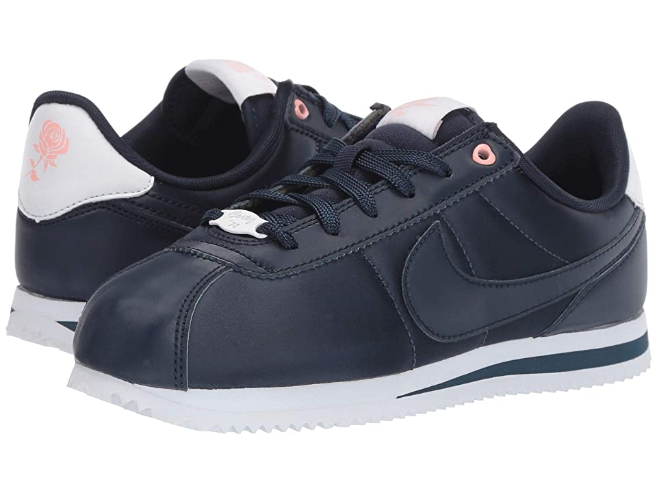 Nike Kids Cortez Basic TXT V-Day (Big Kid) (Obsidian/Obsidian/White/Bleached Coral) Girls Shoes