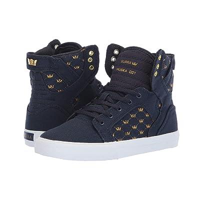 Supra Kids Skytop (Little Kid/Big Kid) (Navy/Gold Crown/White) Boys Shoes