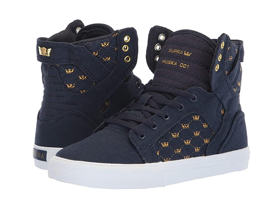 Supra Kids Skytop (Little Kid/Big Kid) (Navy/Gold Crown/White) Boys Shoes