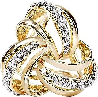 CAREOR, Fermaglio a triplo anello in metallo con diamante per sciarpa da donna, foulard di seta e chiffon, design elegant...