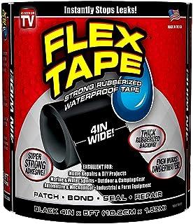 "Kamani Retail Flex Tape - Strong Rubberized Waterproof Tape Black 4"" X 5'"