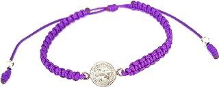 St Benedict Goldtone Medal String Macrame Bracelet, Assorted Colors