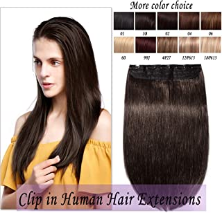 Clip in Remy Human Hair Extensions One Piece 5 clips 100% Remy Human Hair Straight Soft Extensions 3/4FULLHEAD-Thicker(22