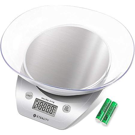 Etekcity Bilancia da Cucina Digital in Acciaio Inossidabile, Ciotola Rimovibile, Alta Precisione 5kg/11lb, Moderna Bilancia Cucina Almenti, Volume Liquidi, LCD Display, Argento