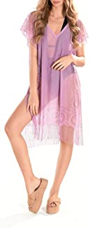 INGODI Damen Strandkleidung Kleid Strand Cover Up Badeanzug Sommer Bikini Bademode Cover Up Pareo Strandkleid