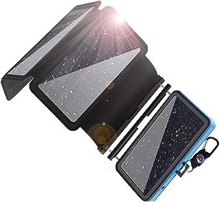 Yelomin ソーラーチャージャー モバイルバッテリー 20000mAh 大容量 携帯 ソーラー充電器 急速充電 スマホ充電器 4枚ソーラーパネル 太陽光発電 防災 防水 LED 4USBポート 旅行/災害/アウトドアに大活躍 全機種対応