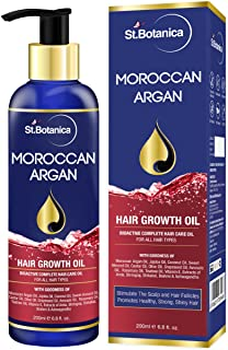 StBotanica Moroccan Argan Hair Growth Oil (With Pure Argan, Jojoba, Almond, Castor, Olive, Avocado, Rosemary Oils), 200ml