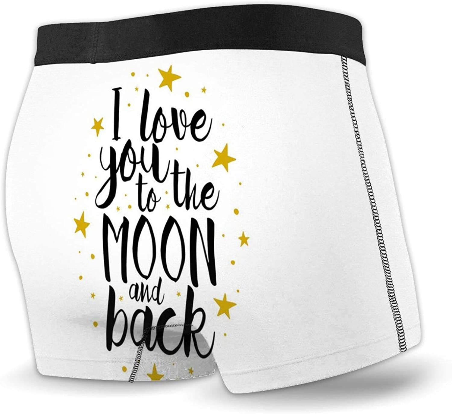 Mens Boxer Briefs Underwear,I Love You to The Moon and Back Valentines Phrase with Stripes