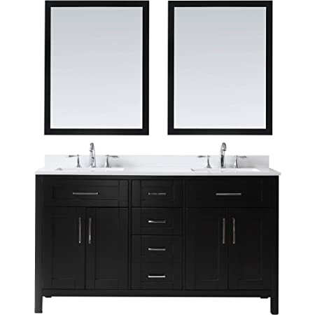 Luca Kitchen Bath Lc61cew Geneva 61 Double Vanity Set In Espresso With Carrara Marble Top Sink And Mirror Amazon Com