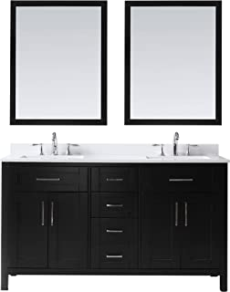 Ove Decors Maya 60 Espresso Double Vanity with Quartz Top, Backsplash and Two Mirrors, 60 inches,