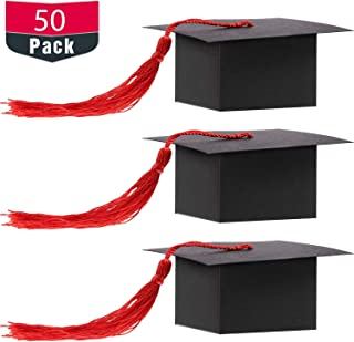 Graduation Cap Shaped Gift Box Grad Cap Candy Sugar Chocolate Box with Tassel for Graduation Party Favor Accessories (Red, 50 Pieces)