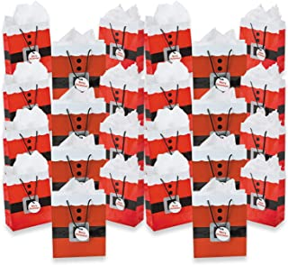 Fun Express Paper Medium Santa Gift Bags with Tags | 24 Count | Great for Party Favors, Holiday Celebrations, and Special Occasions