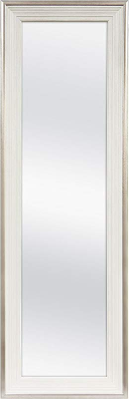 MCS 12x48 Inch Over The Door Mirror 18x54 Inch Overall Size White 65730