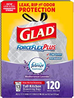 An Item of Glad ForceFlexPlus Tall Kitchen Drawstring Trash Bags - Febreze Mediterranean Lavender- 13 Gallon - 120 Count - Pack of 1