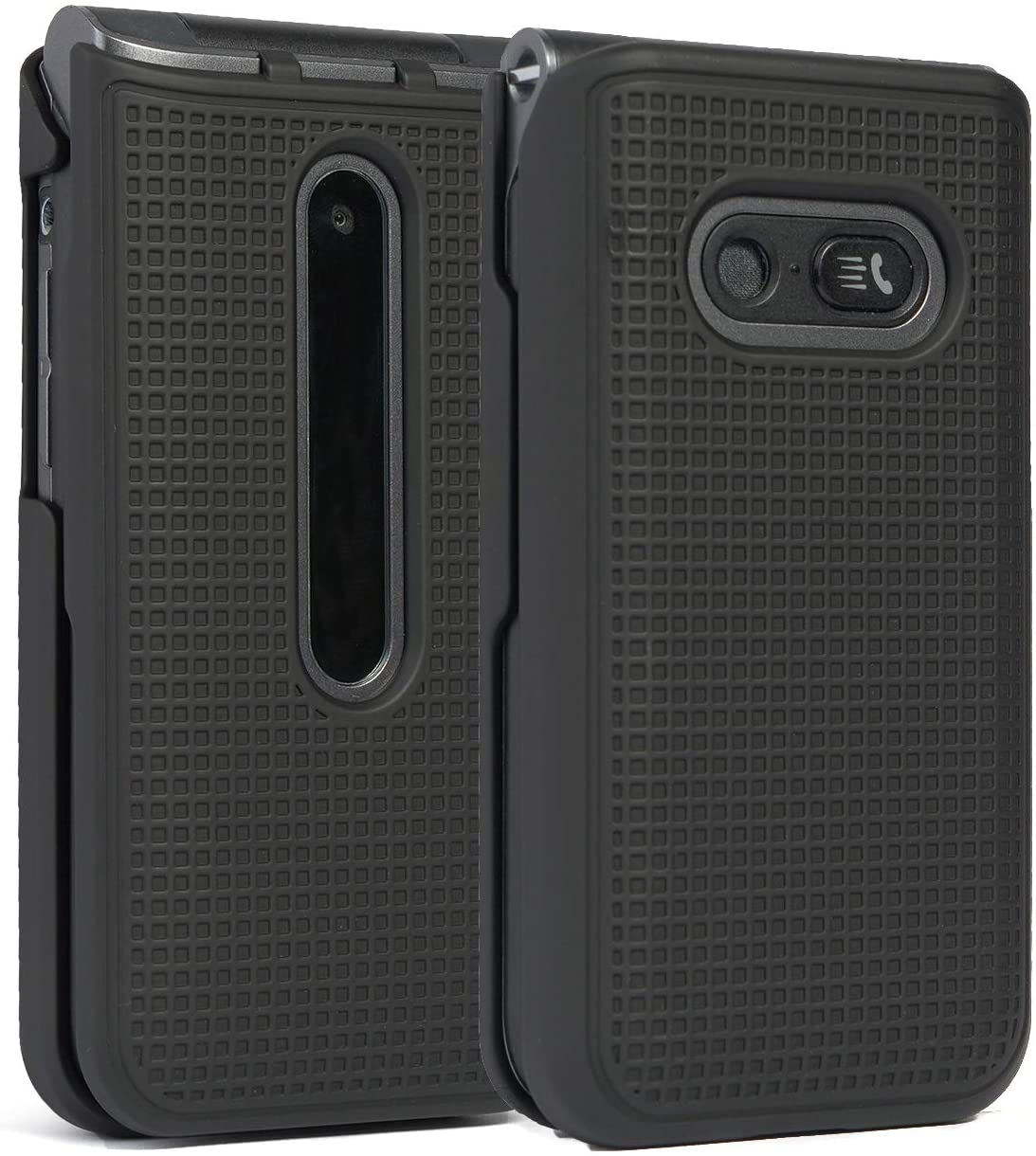 Case for LG Classic Flip, Nakedcellphone [Black] Protective Snap-On Hard Shell Cover [Grid Texture] for LG Classic Flip Phone L125DL