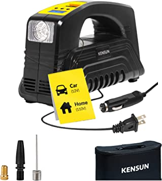 Kensun AC/DC Digital Tire Inflator for Car 12V DC and Home 110V AC Rapid Performance Portable Air Compressor Pump for Car, Bicycle, Motorcycle, Basketball and Others: image