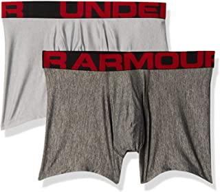 Under Armour Men's Tech 3in Quick-Drying Sports, 2 Pack Comfortable Underwear with Tight fit, Mod Gray Light Heather/Jet G...