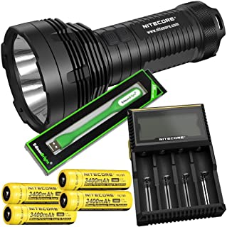 Nitecore TM16GT 3600 Lumen CREE LED long range Flashlight, D4 smart charger, 4 X Nitecore NL189 18650 3400mAh with USB powered EdisonBright brand reading light bundle