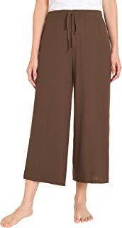 Weintee Women's Lounge Culottes Knit Gaucho Pants with Pockets